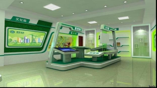 樟树市供电公司企业文化展厅,这个项目采用简洁的设计风格,中心位置